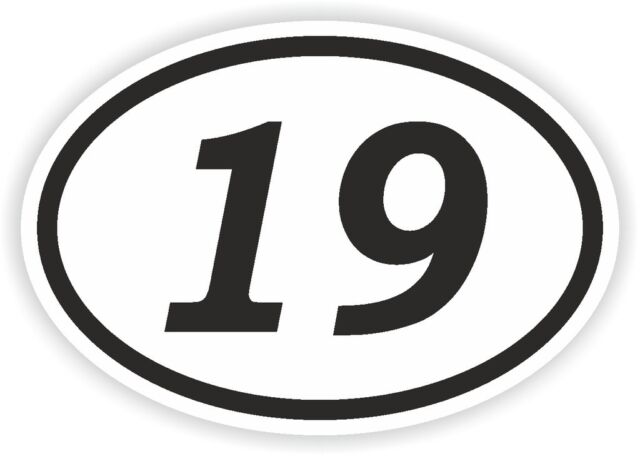 19 nineteen number oval sticker bumper decal car motocross motorcycle aufkleber