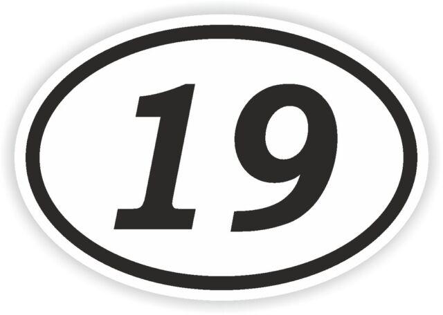 19 nineteen number oval sticker bumper decal car motocross motorcycle aufkleber