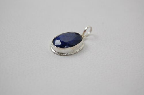 Details about  /Solid 925 Sterling Silver Sapphire Pendant Necklace Women PSV-1640