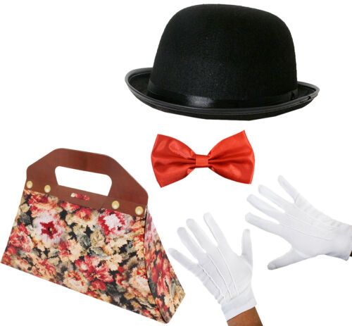 VICTORIAN NANNY COSTUME SET BAG HAT BOW TIE GLOVES LADIES FANCY DRESS OUTFIT