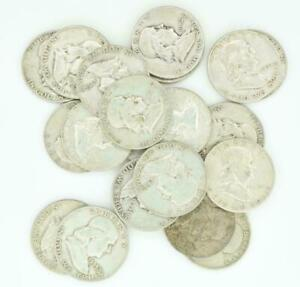 $10 FACE VALUE of FRANKLIN HALF DOLLARS 90/% SILVER LOT OF 20 COINS