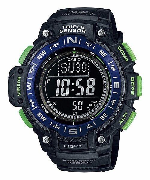 SGW-1000-2B Black Men Casio Watches SPORTS GEAR THERMOMETER TWIN SENSOR Compass