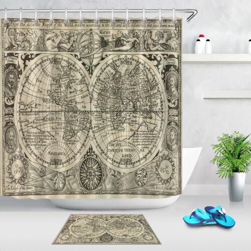 "72X72/"" Antique Map Shower Curtain Waterproof Fabric Bathroom Shower Curtains Mat"