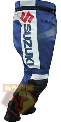 And Great Variety Of Designs And Colors Full Range Of Specifications And Sizes Frugal Suzuki Gsx Blue Motorbike Motorcycle Biker Cowhide Leather Armoured Pant/trouser Famous For High Quality Raw Materials