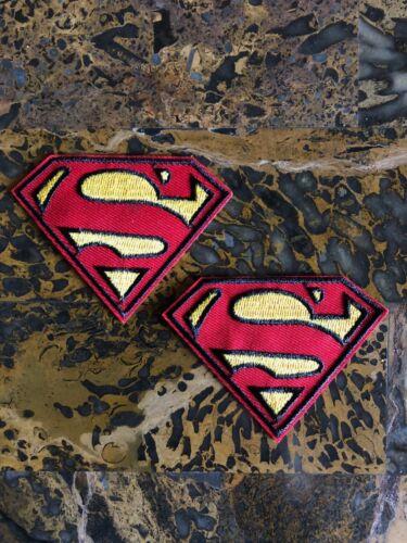 "2 Superman Superhero 2.25/"" H x 3.15/"" L Iron On Sew On Patch Jacket Vest Backpack"