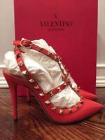 Valentino Rockstud Coral Red Orange Peb Leather T Strap Heel Pump 39 $1075