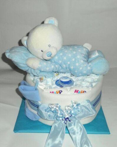 Windeltorte Baby Junge *Schlafbärchen mit Kissen* Windelgeschenk Taufe Geburt