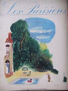 DESSIN-DE-PRESSE-HUMORISTIQUE-1962-DE-SEMPE-LES-PARISIENS-LA-PISCINE