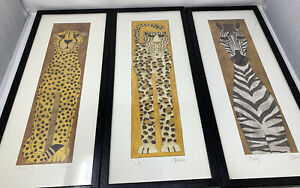 3-Signed-C-Davis-Art-Animal-Prints-Lili-Dusty-amp-Sirocco-Cheetah-Lion-Cougar