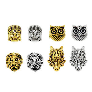 20Pcs-Assorted-Gold-Silver-Dragon-Buddha-Lion-Owl-Bead-Spacer-Beads-DIY-Findings