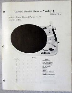 SERVICE-MANUAL-FOR-GARRARD-TURNTABLE-MODEL-4-HF-ORIGINAL-MANUAL-20-PAGES