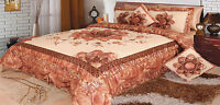 Dada Bedding Embellished Puffy Floral Shiny Brown Bronze Comforter Bedspread Set
