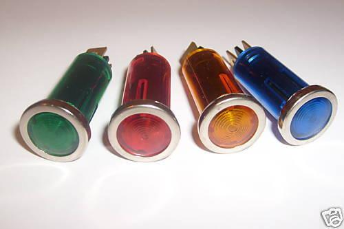 Warning Lights Lamp Oil Car Dash Indicator Light  X 4 12v 12 volt  chrome bezel