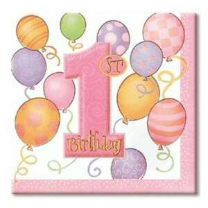 1st-Birthday-Pink-Balloons-Party-Napkins-Serviettes
