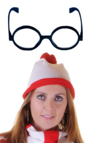 Adulto Donna Gents Rosso Bianco a Maglia Cappello Occhiali senza lenti Fancy Dress Party