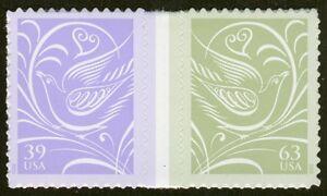 #3999b 39c & 63c Boda Palomas, Vert. Gutter Par, Nuevo Cualquier 5=