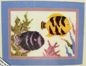 Beaded-Counted-Cross-Stitch-Tropical-Fish-5x7-Kit-Nancy-A-Bombard-New-Vintage