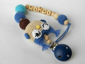 Personalised Crochet Wooden Dummy Clip Pacifier Holder Personalized