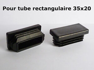 10 bouchons embouts pour tube rectangulaire plastique pvc noir 35x20 mm ebay. Black Bedroom Furniture Sets. Home Design Ideas