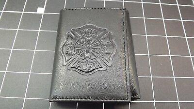 "Genuine Leather /""FIREMAN-FIREFIGHTER/"" BILLFOLD WALLET BLACK BRAND NEW"