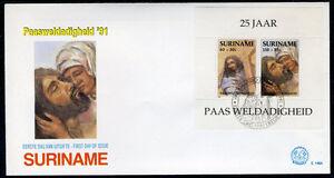 SURINAME-E146A-FDC-1991-Blok-Bijbelse-voorstellingen
