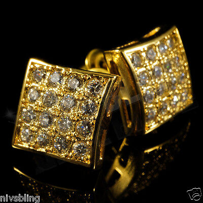 8f31710b6 18k Gold ICED OUT Micropave Men Square Kite Stud Bling Hip Hop AAA CZ  Earring 1G