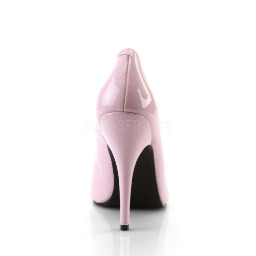 PLEASER SEDUCE-420 BABY PINK PATENT CLASSIC STILETTO HEEL COURT SHOES