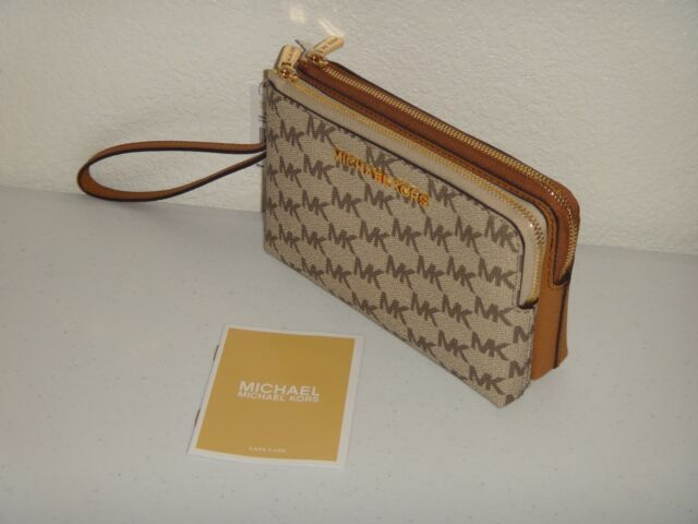 5a580e8d2073 Frequently bought together. MICHAEL KORS Womens MK Signature Double Zip  Wristlet Clutch Wallet Natural Acorn