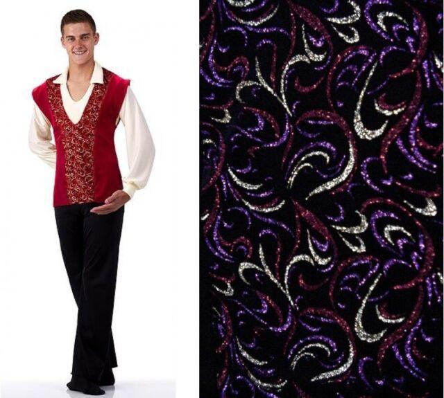 Guy's Glitter Swirl Velvet TABARD Vest Only Choice Red/Black Dance Costume USA