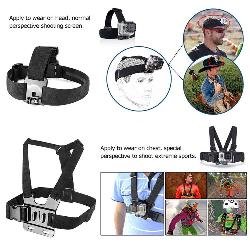 GoPro HERO7 Black Action Camera Accessories Kit For Go Pro Hero 6/5/4 New Model 11
