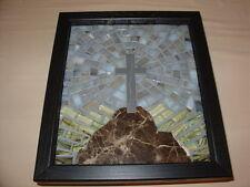 Cross on Hill MOSAIC Christian Wall Hanging Handmade ART  Gift Curio