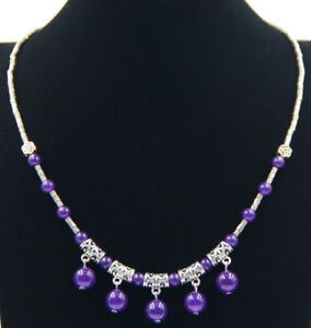 Ladies-Jewelry-Tibetan-Silver-Necklace-Amethyst-Pendant-Necklace-Jewellery