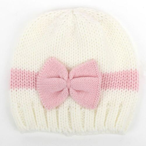 Infant Newborn Baby Toddler Knitted Hat Winter Warm Cosy Cap Bow Knot