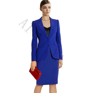 Royal Blue Women Business Suits Slim Ladies Formal Skirt 2 Piece