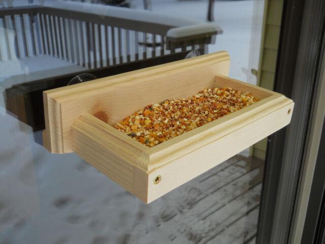 Window Bird Feeder - Wood Bird Feeder - Suction Cup Bird Feeder