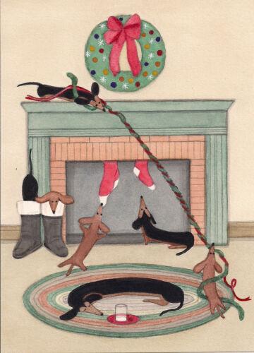 Cards Lynch folk art doxie Dachshund pups frisky on Christmas eve
