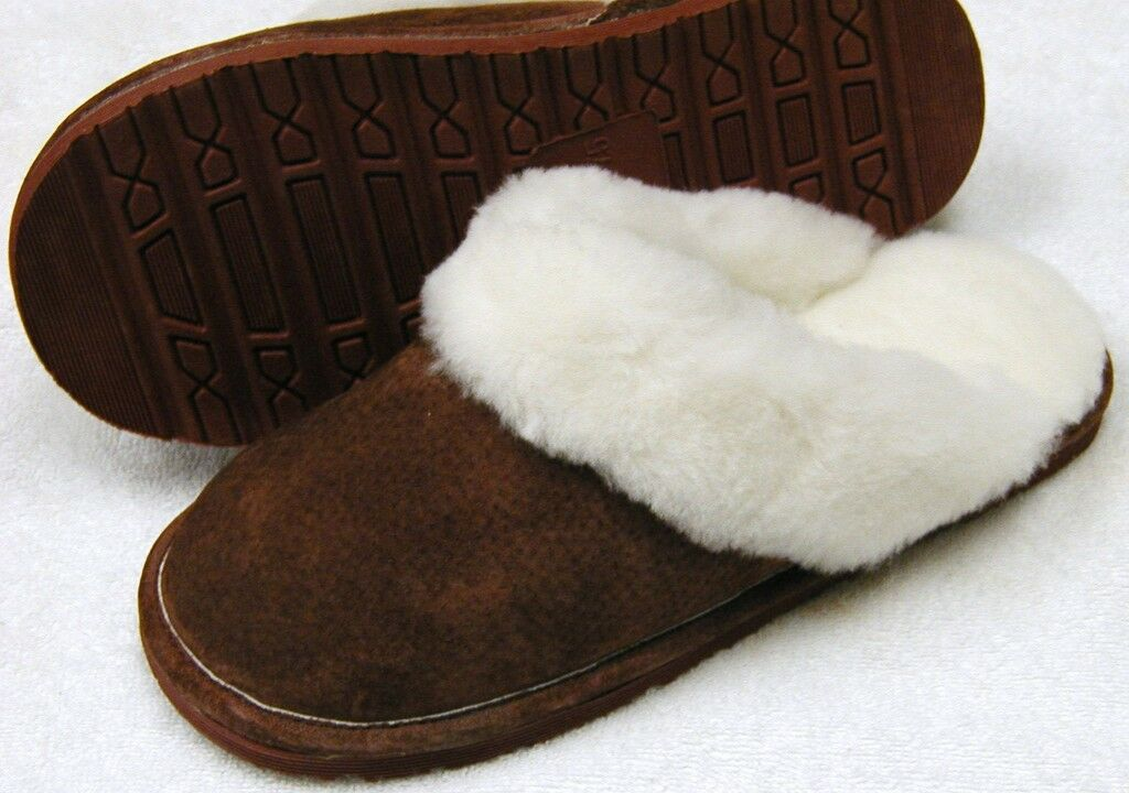 Damens SHEEPSKIN Scuff Slipper Schuhe Slide Burgundy  5 6 7 8 9 10