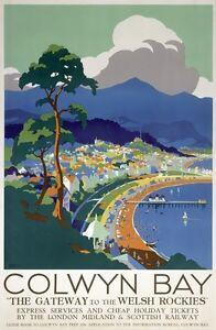 TX284-Vintage-Colwyn-Bay-Wales-LMS-Railway-British-Travel-Poster-A2-A3-A4