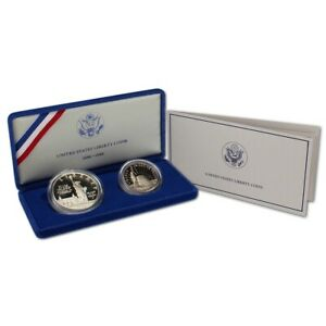1-1986-S-US-Statue-of-Liberty-1-Silver-Dollar-amp-Half-2-Coin-Proof-Set-wCOA-amp-Bx