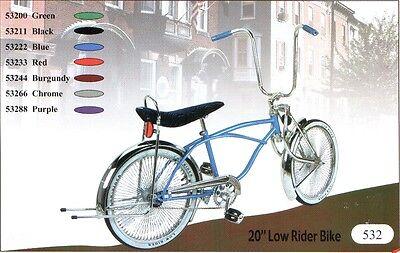 "20/"" Lowrider bike with Bent fork 144 spokes coaster brake pick up 6 colors"
