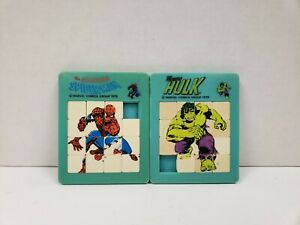 Amazing-Spiderman-Spider-man-amp-Hulk-Slide-Tray-Puzzle-Marvel-1978