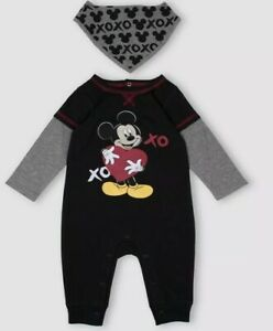 NWT-BABY-BOY-MICKEY-MOUSE-COVERALL-ONE-PIECE-OUTFIT-AND-BIB-SET-SIZE-0-3-MONTHS