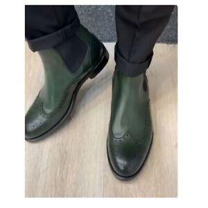 Handmade men green Wing tip brogue chelsea boot, mens formal dress boots