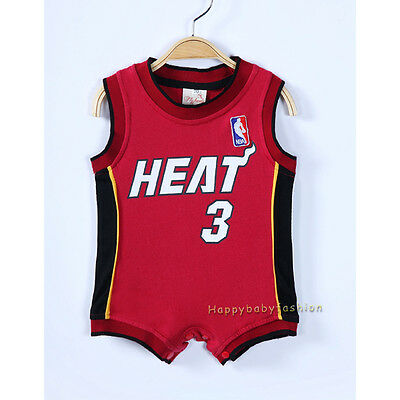 quality design 9df27 ff47f Baby Boy Romper NBA Basketball Jersey - MIAMI HEAT #3 WADE Size: 00 0 1 2 |  eBay