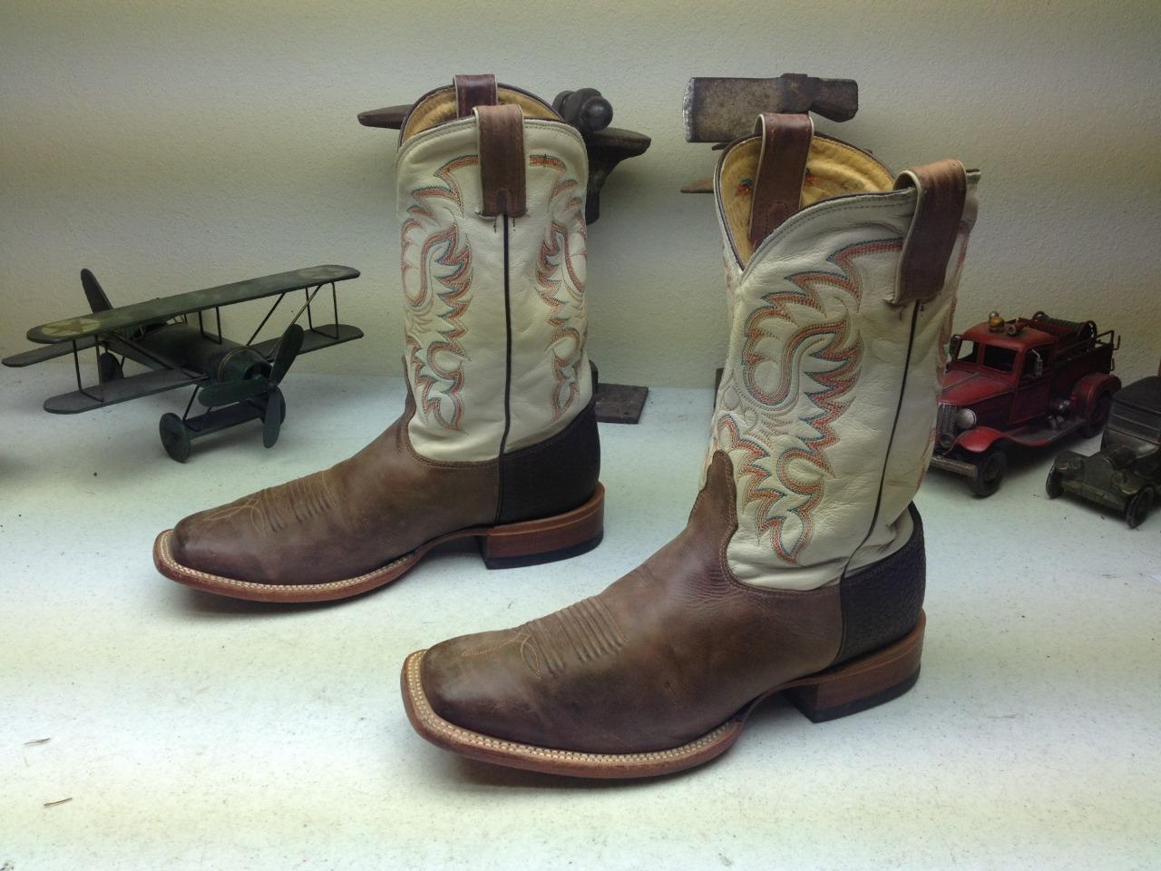 Envejecido Nocona Hecho En Usa Marrón Punta De Cuero Cuadrado Western Cowboy botas 10ee