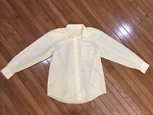 Foxcroft-Women-s-Yellow-Wrinkle-Free-Button-Down-Shirt-Blouse-Top-Size-12