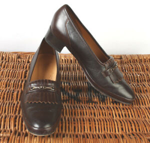 6dfe587d Image is loading Ladies-Barker-England-Brown-Leather-Shoes-Low-Heel-