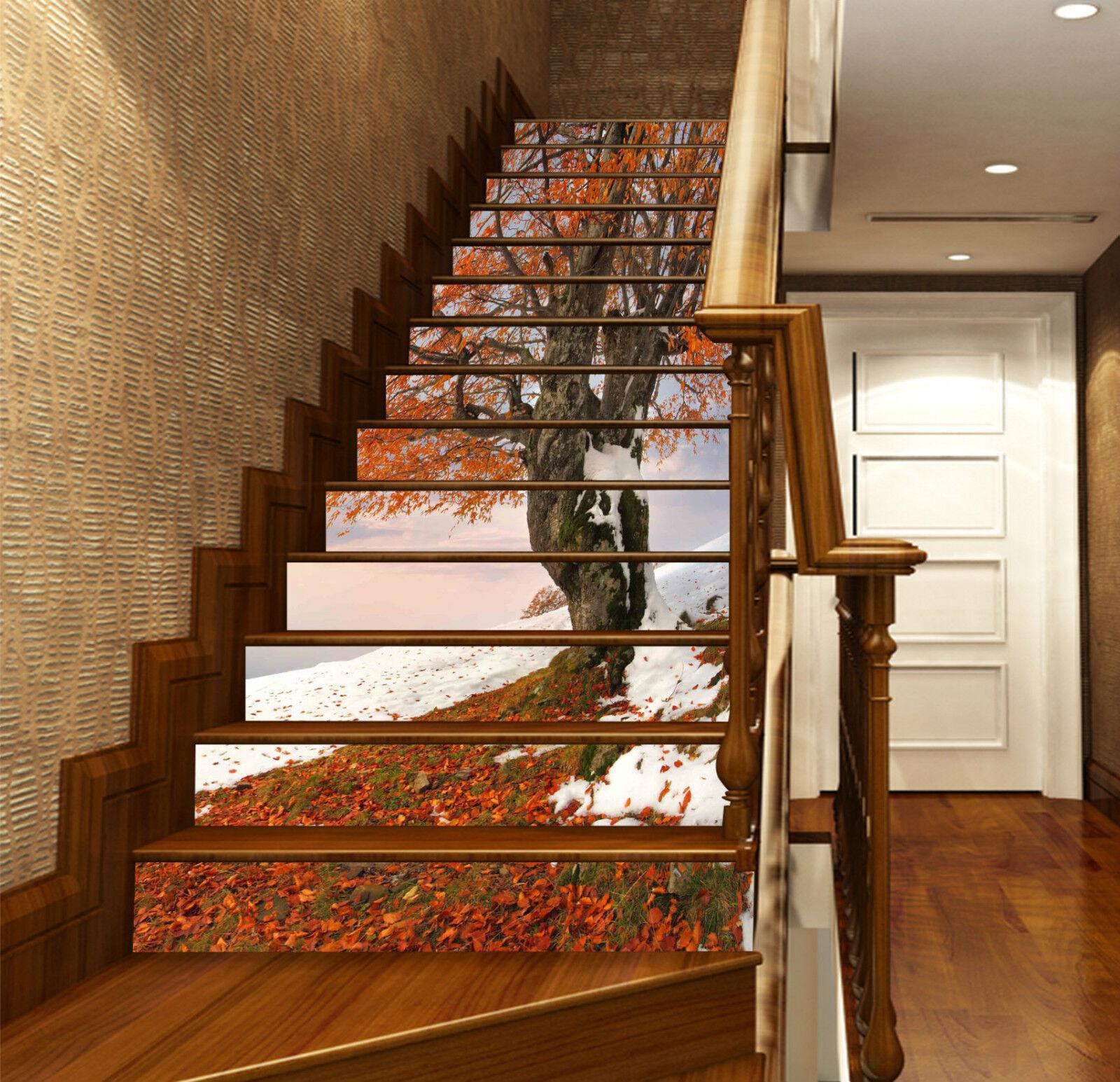3D Schneebaum 336 Stair Risers Dekoration Fototapete Vinyl Aufkleber Tapete DE