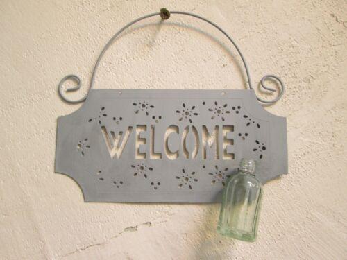 Türschild Willkommen Metall mit Vase Welcome Metallschild Blechschild Shabby