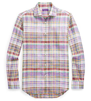 $495 Ralph Lauren Purple Label Italy Plaid Linen Button Down Dress Sport Shirt